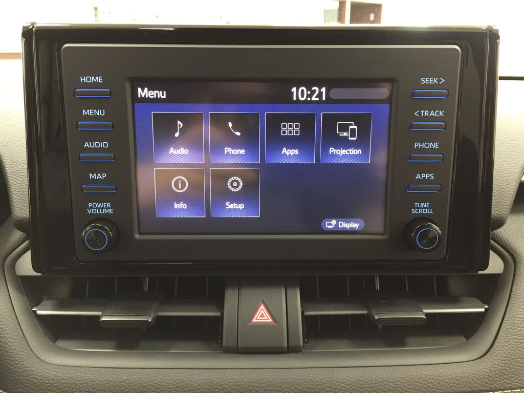 Red[Ruby Flare Pearl] 2021 Toyota RAV4 XLE AWD Infotainment Closeup Photo in Sherwood Park AB