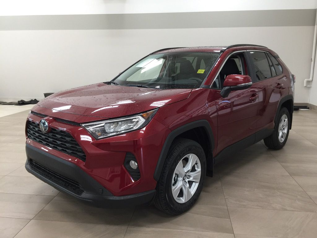 Red[Ruby Flare Pearl] 2021 Toyota RAV4 XLE AWD Left Front Corner Photo in Sherwood Park AB