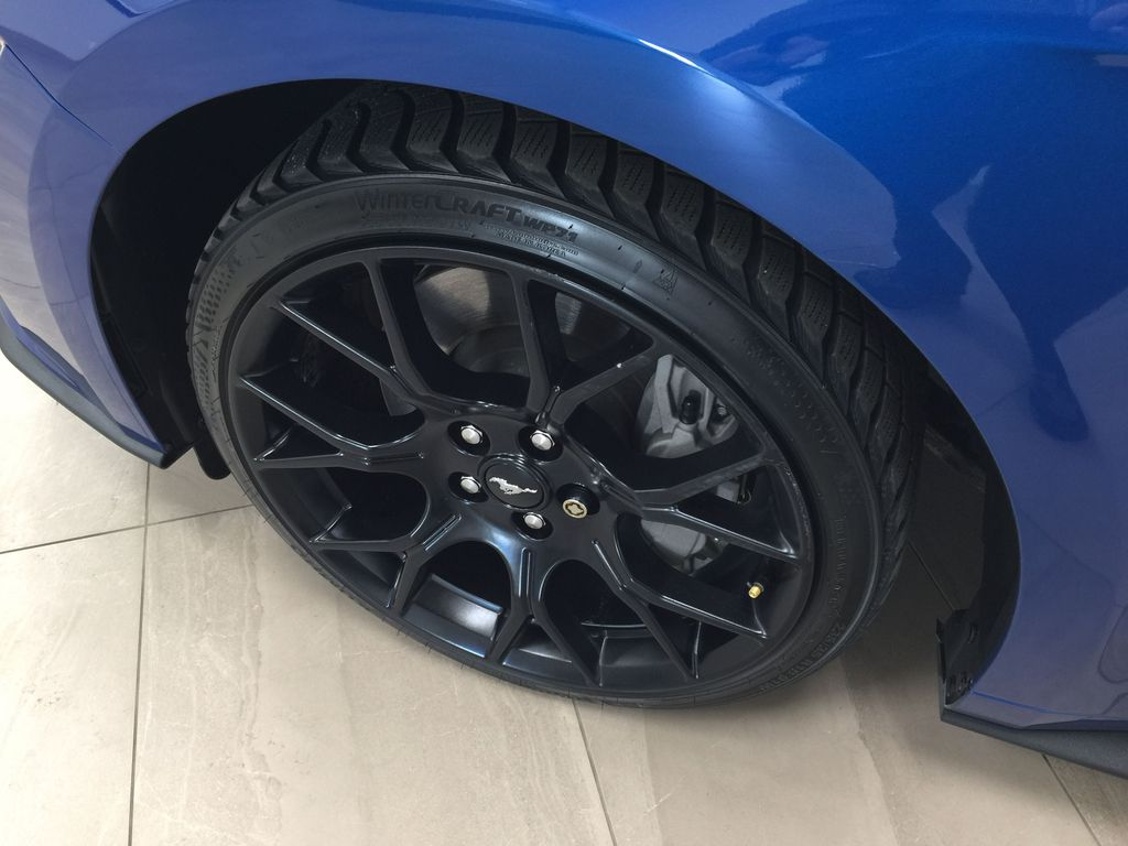 Blue[Kona Blue] 2018 Ford Mustang Ecoboost Left Front Rim and Tire Photo in Sherwood Park AB