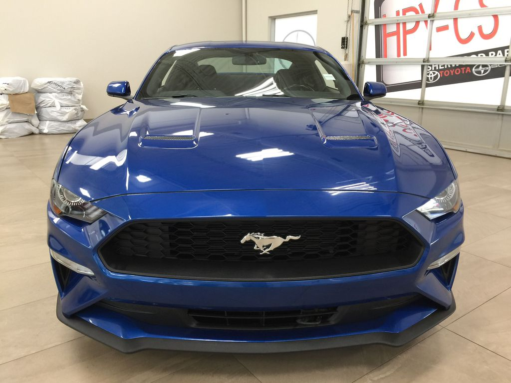 Blue[Kona Blue] 2018 Ford Mustang Ecoboost Front Vehicle Photo in Sherwood Park AB