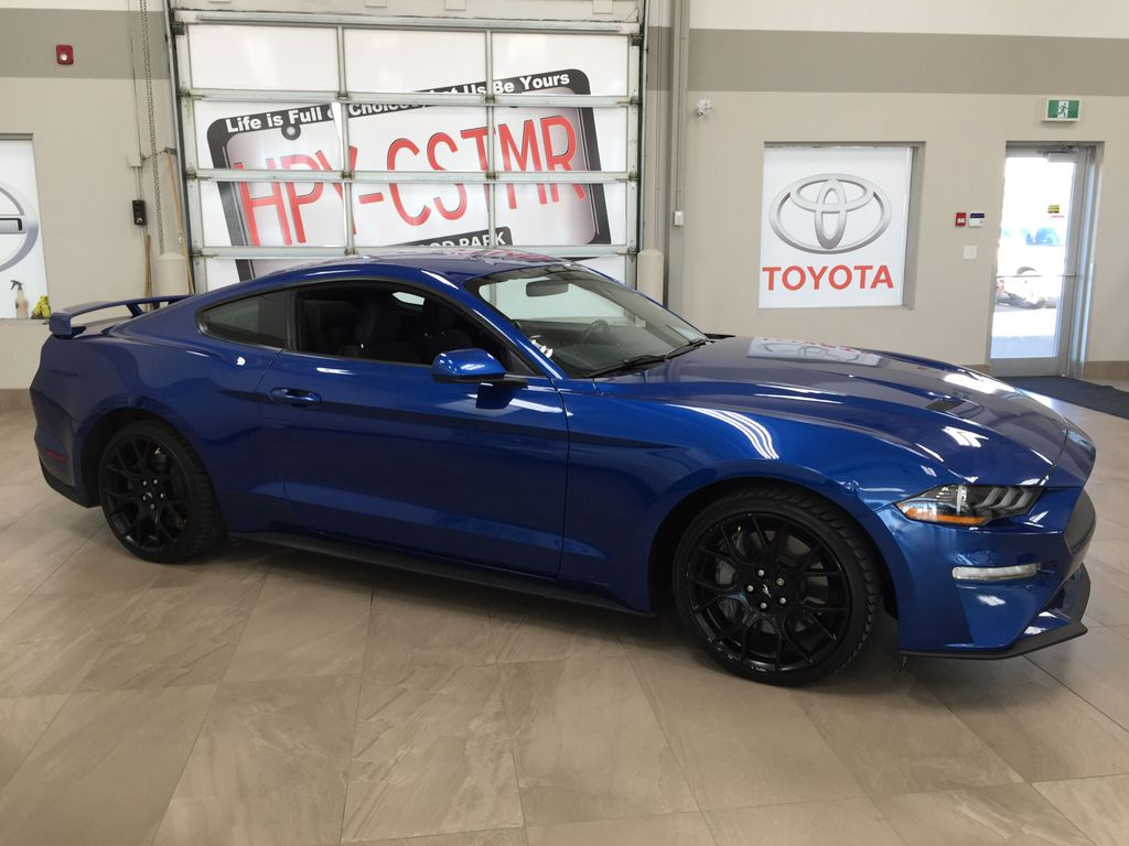 Blue[Kona Blue] 2018 Ford Mustang Ecoboost Right Side Photo in Sherwood Park AB