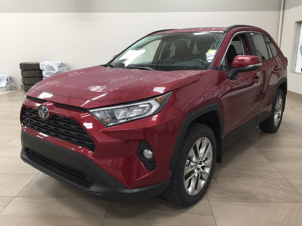 Red[Ruby Flare Pearl] 2021 Toyota RAV4 XLE Premium Left Front Corner Photo in Sherwood Park AB