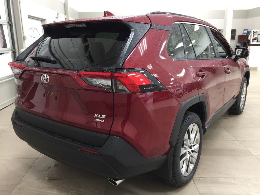 Red[Ruby Flare Pearl] 2021 Toyota RAV4 XLE Premium Right Rear Corner Photo in Sherwood Park AB