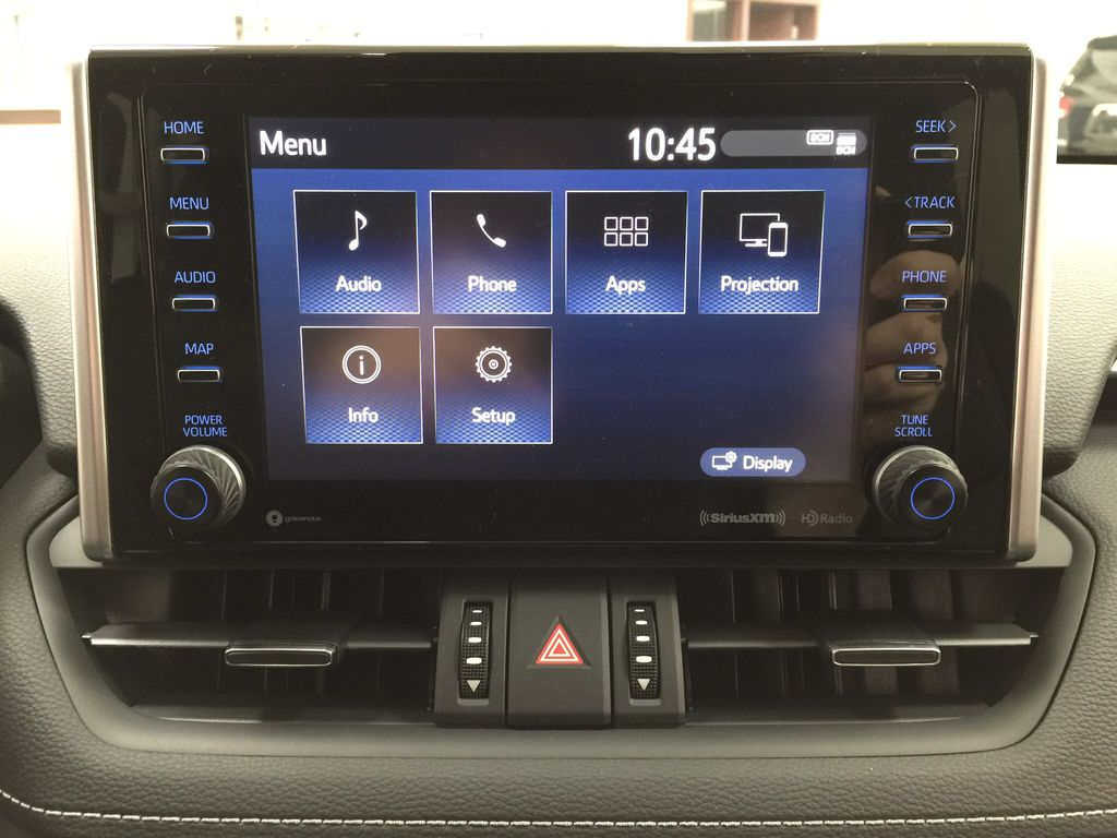 Red[Ruby Flare Pearl] 2021 Toyota RAV4 XLE Premium Infotainment Closeup Photo in Sherwood Park AB