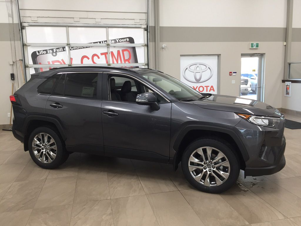 Gray[Magnetic Grey Metallic] 2021 Toyota RAV4 XLE Premium Right Side Photo in Sherwood Park AB