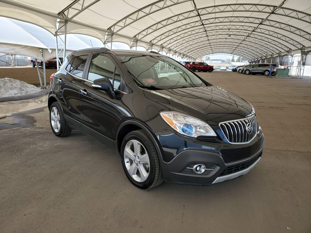 Black 2016 Buick Encore Navigation Screen Closeup Photo in Airdrie AB
