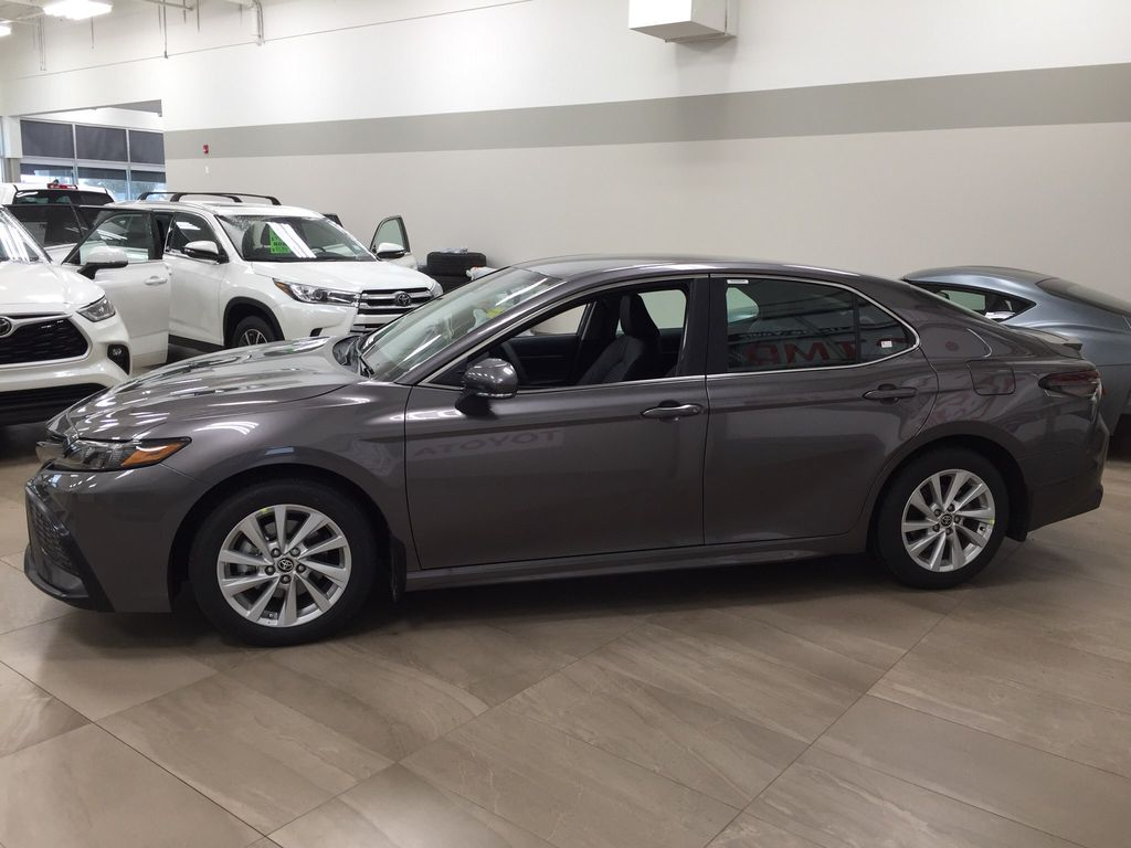 Gray[Pre-Dawn Grey Mica] 2021 Toyota Camry SE FWD Left Side Photo in Sherwood Park AB