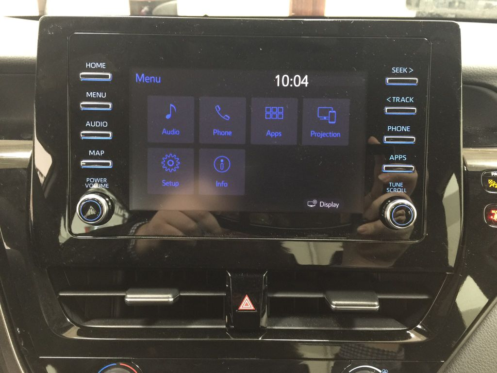 Gray[Pre-Dawn Grey Mica] 2021 Toyota Camry SE FWD Infotainment Closeup Photo in Sherwood Park AB