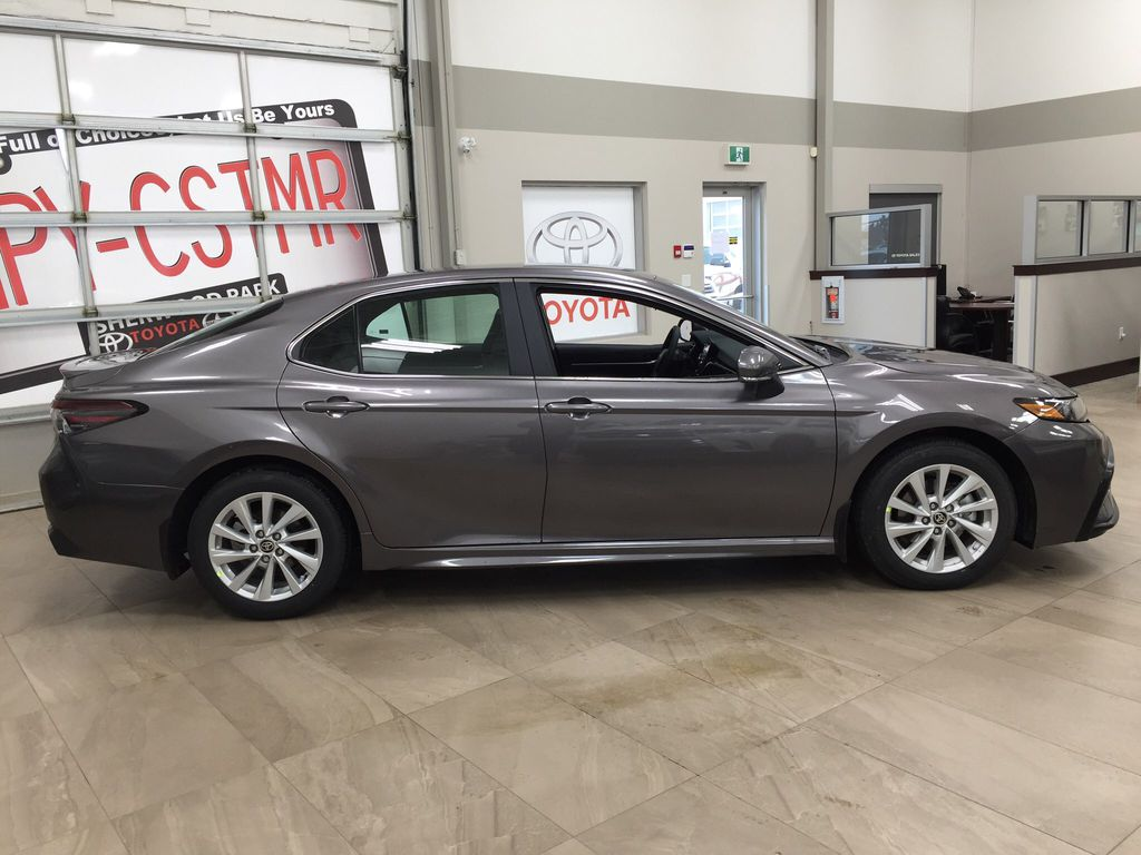 Gray[Pre-Dawn Grey Mica] 2021 Toyota Camry SE FWD Right Side Photo in Sherwood Park AB