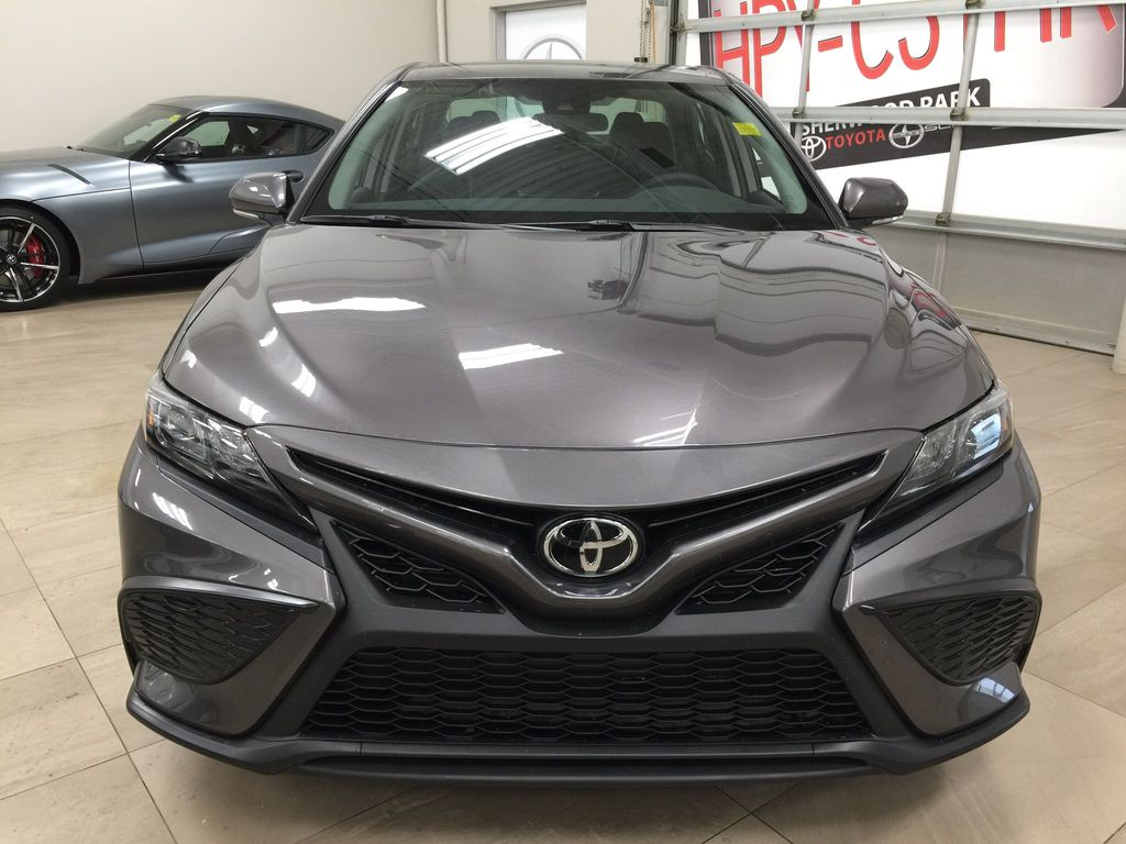 Gray[Pre-Dawn Grey Mica] 2021 Toyota Camry SE FWD Front Vehicle Photo in Sherwood Park AB