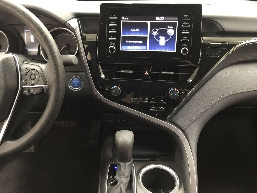 Gray[Pre-Dawn Grey Mica] 2021 Toyota Camry LE Hybrid Central Dash Options Photo in Sherwood Park AB