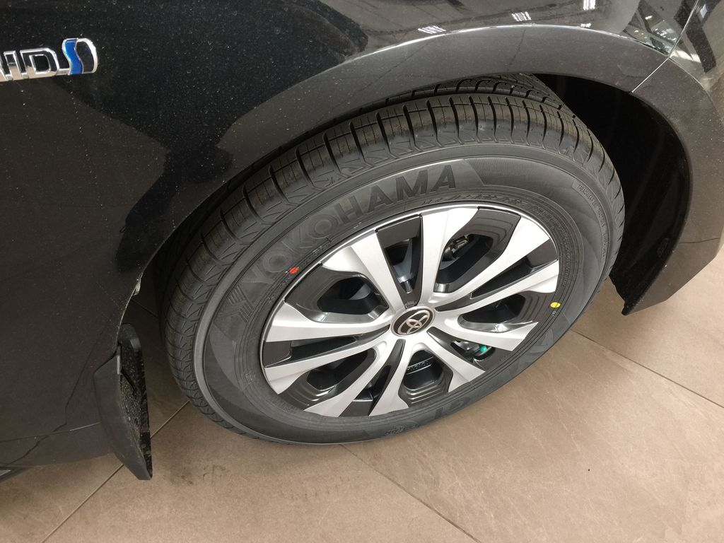 Black[Black Sand Pearl] 2021 Toyota Corolla Premium Hybrid Right Front Rim and Tire Photo in Sherwood Park AB