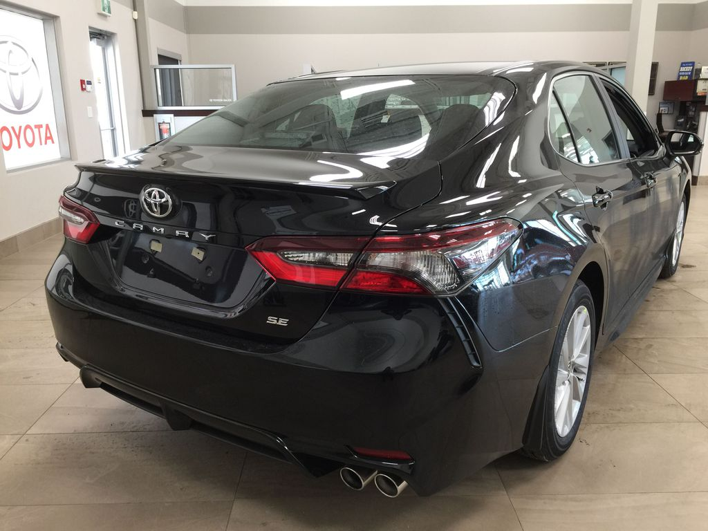 Black[Midnight Black Metallic] 2021 Toyota Camry SE FWD Right Rear Corner Photo in Sherwood Park AB