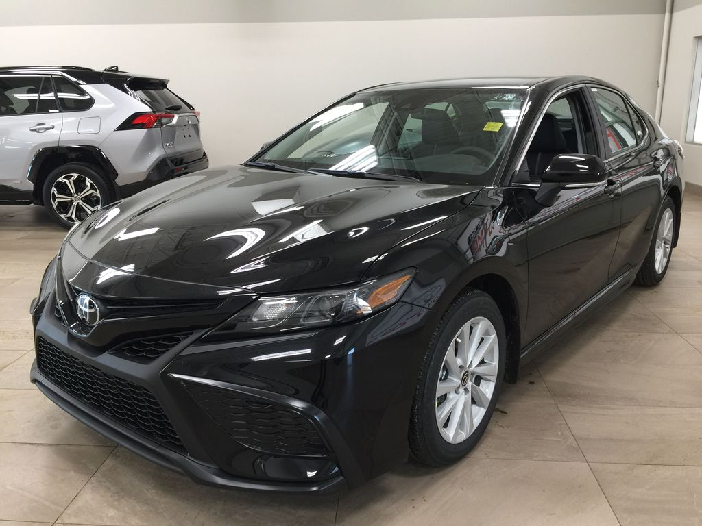 Black[Midnight Black Metallic] 2021 Toyota Camry SE FWD Left Front Corner Photo in Sherwood Park AB