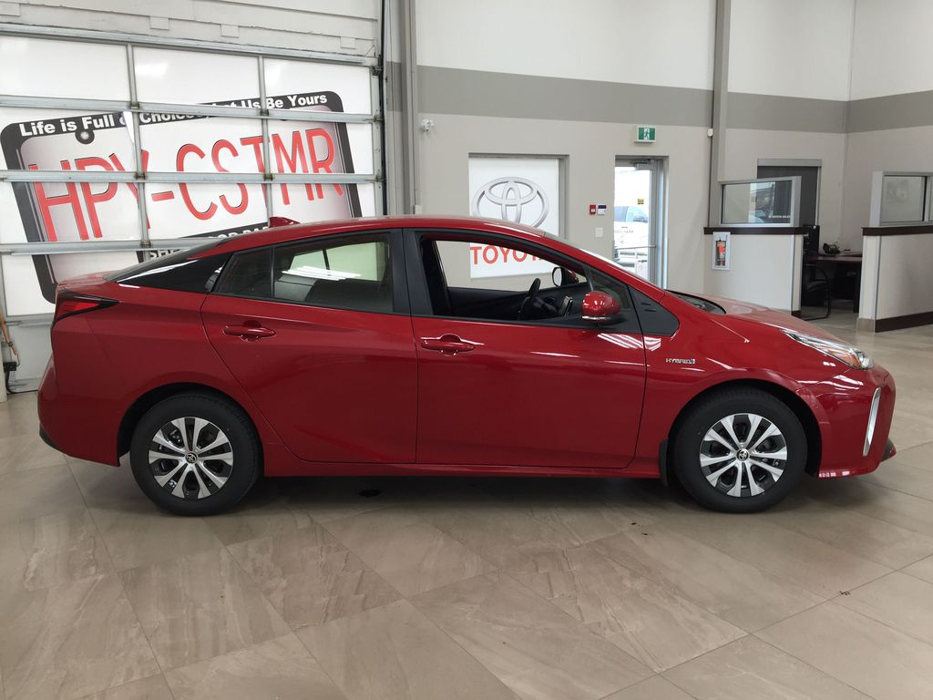 Red[Supersonic Red] 2021 Toyota Prius Technology Advanced AWD-e Right Side Photo in Sherwood Park AB