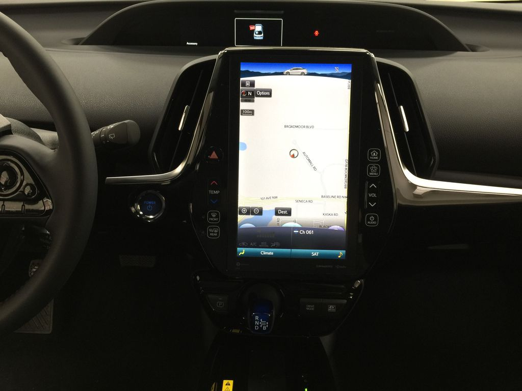 Red[Supersonic Red] 2021 Toyota Prius Technology Advanced AWD-e Central Dash Options Photo in Sherwood Park AB