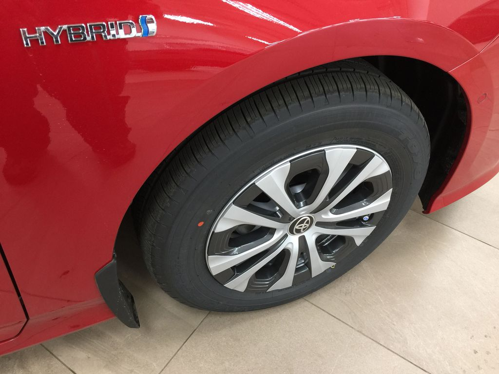 Red[Supersonic Red] 2021 Toyota Prius Technology Advanced AWD-e Right Front Rim and Tire Photo in Sherwood Park AB