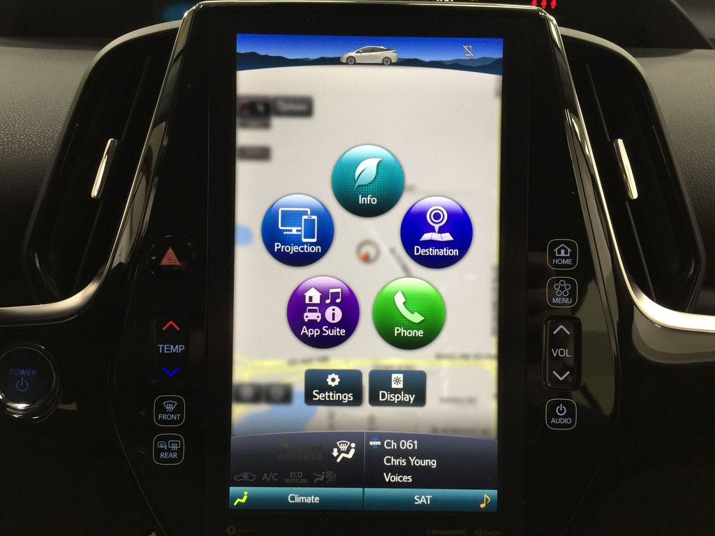 Red[Supersonic Red] 2021 Toyota Prius Technology Advanced AWD-e Infotainment Closeup Photo in Sherwood Park AB