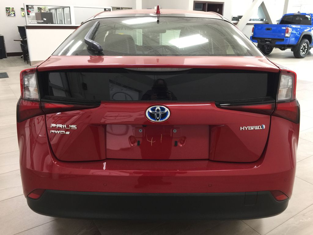 Red[Supersonic Red] 2021 Toyota Prius Technology Advanced AWD-e Rear of Vehicle Photo in Sherwood Park AB