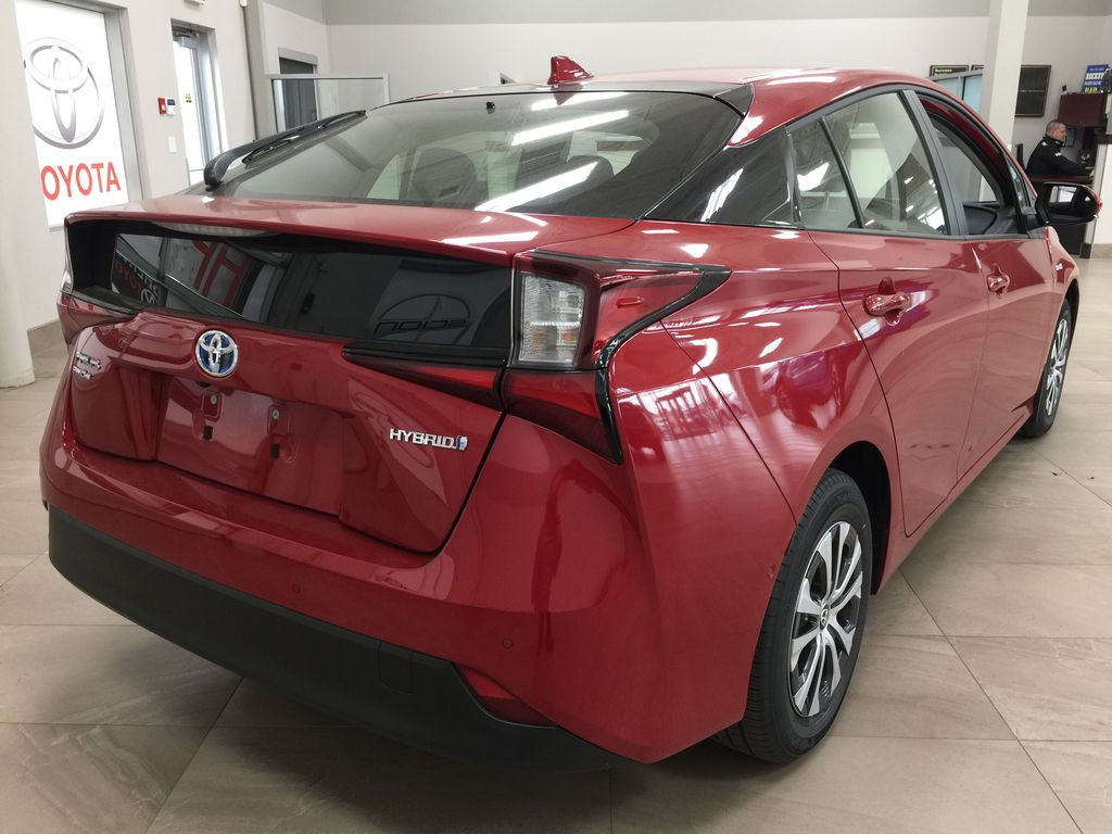 Red[Supersonic Red] 2021 Toyota Prius Technology Advanced AWD-e Right Rear Corner Photo in Sherwood Park AB