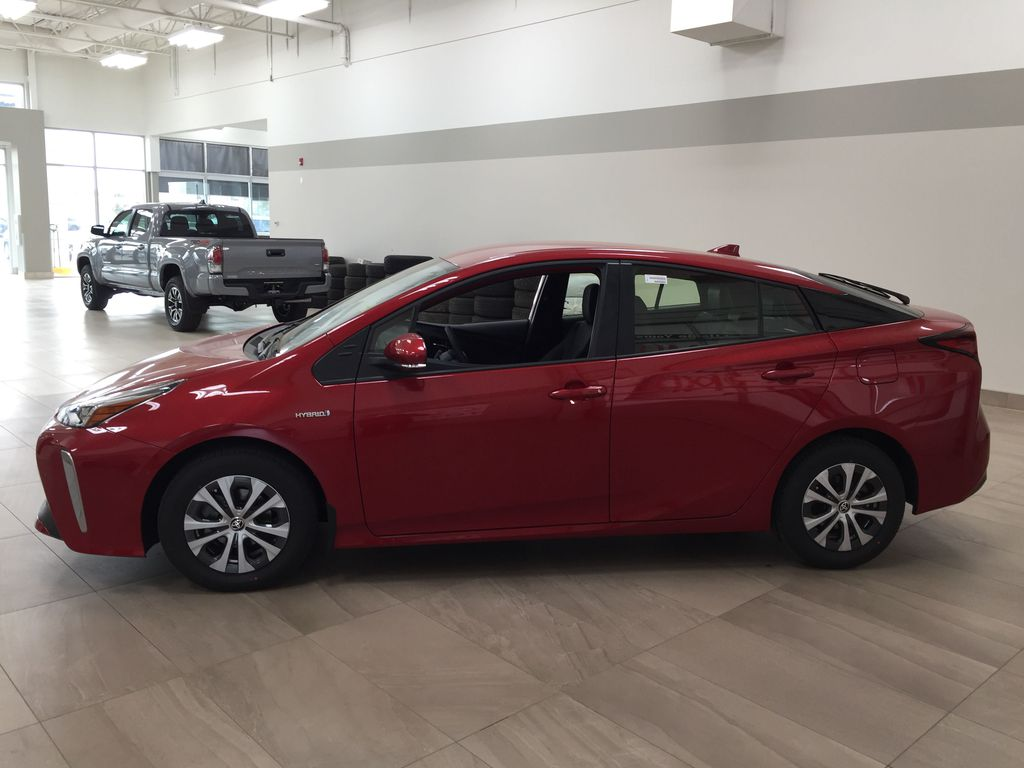 Red[Supersonic Red] 2021 Toyota Prius Technology Advanced AWD-e Left Side Photo in Sherwood Park AB