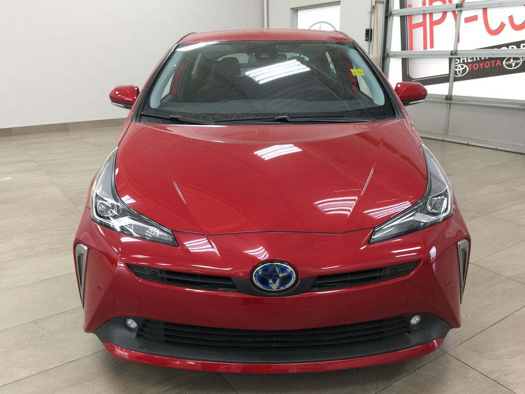 Red[Supersonic Red] 2021 Toyota Prius Technology Advanced AWD-e Front Vehicle Photo in Sherwood Park AB
