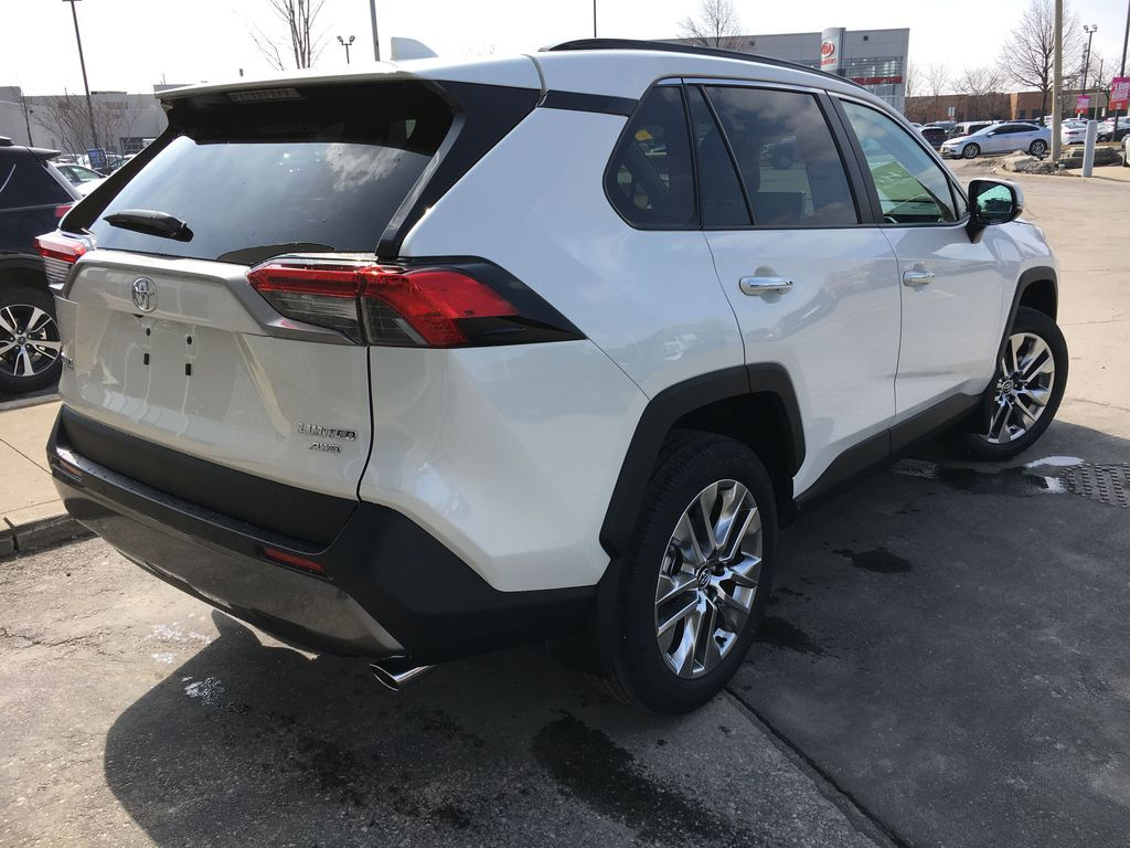 White[Blizzard Pearl] 2021 Toyota RAV4 AWD Limited Package D1RFVT AB Trunk / Cargo Area Photo in Brampton ON