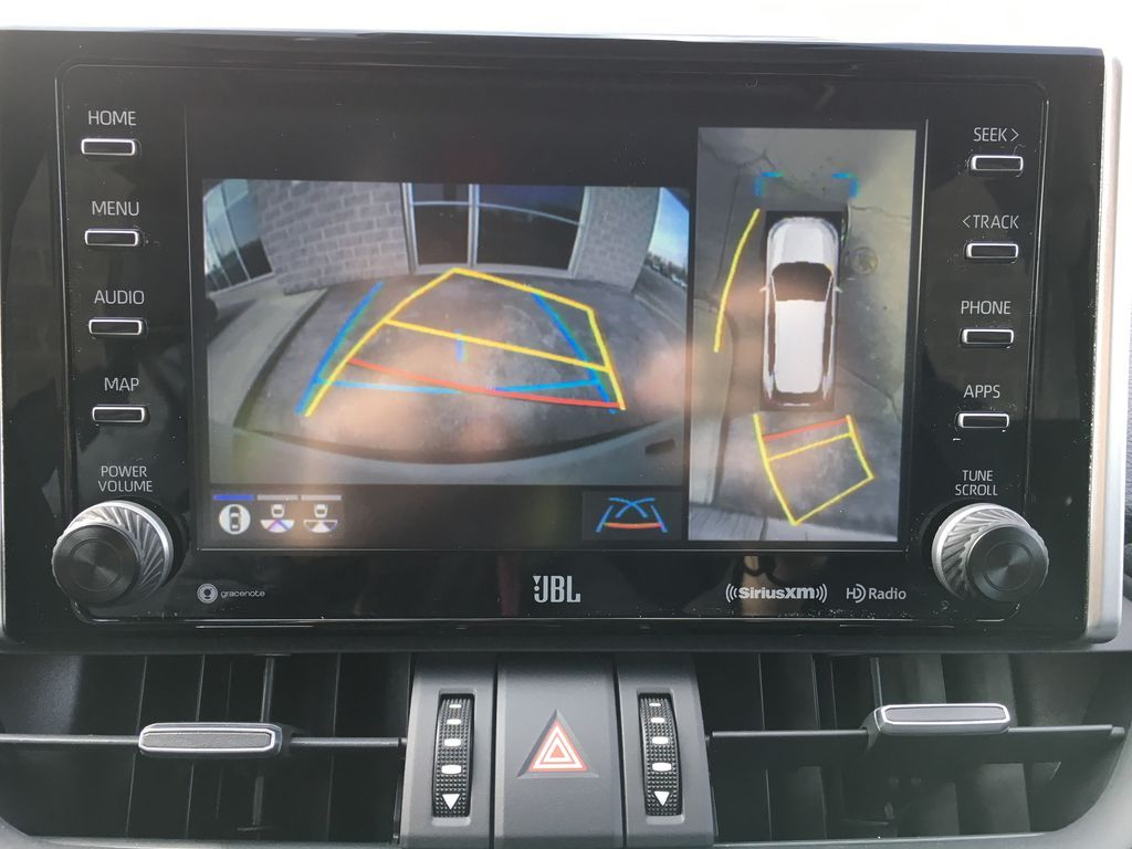 White[Blizzard Pearl] 2021 Toyota RAV4 AWD Limited Package D1RFVT AB Navigation Screen Closeup Photo in Brampton ON