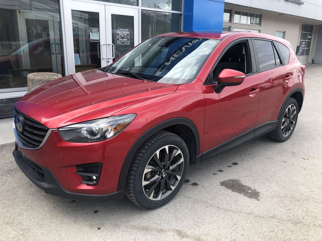 Red[Soul Red Mica] 2016 Mazda CX-5 Left Front Corner Photo in Canmore AB
