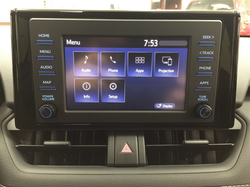 White[Super White] 2021 Toyota RAV4 LE AWD Infotainment Closeup Photo in Sherwood Park AB
