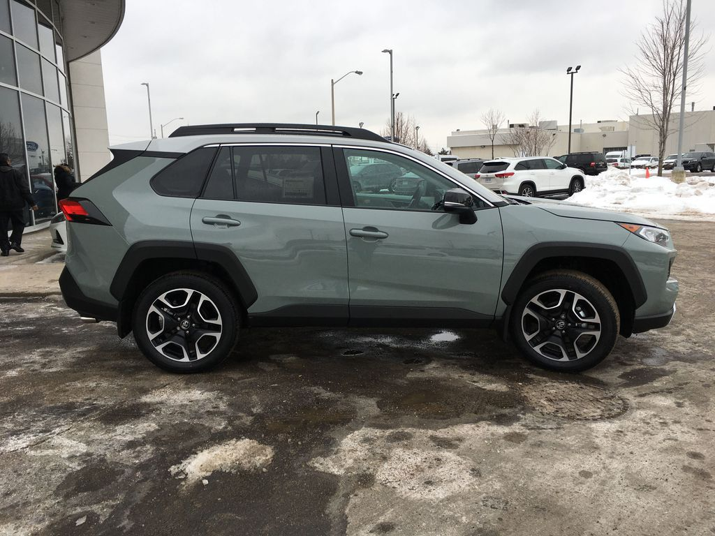 Gray[Lunar Rock w/Ice Edge Roof] 2021 Toyota RAV4 AWD Trail Edition J1RFVT AY Right Side Front Seat  Photo in Brampton ON