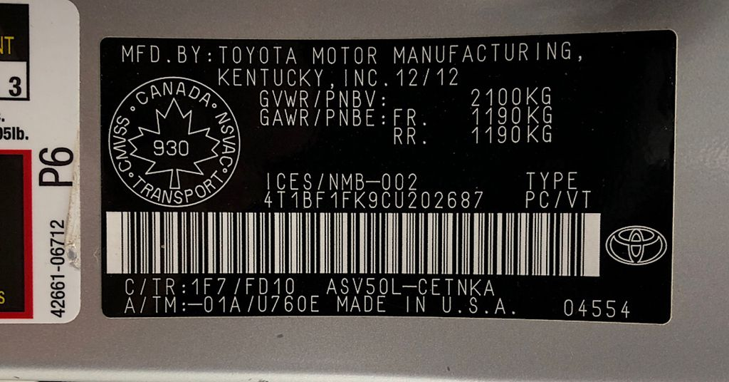 Silver[Classic Silver Metallic] 2012 Toyota Camry LE - Cruise Control, LOW KMs Used Toyota DOT Label Photo in Winnipeg MB