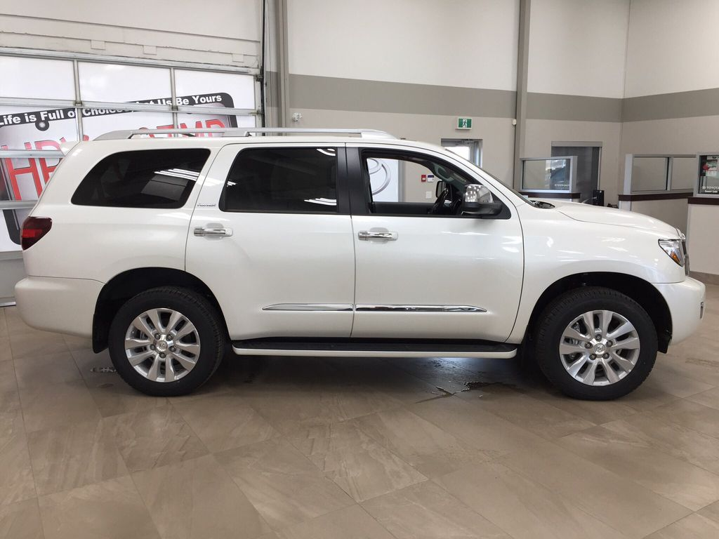 White[Blizzard Pearl] 2021 Toyota Sequoia Platinum Right Side Photo in Sherwood Park AB