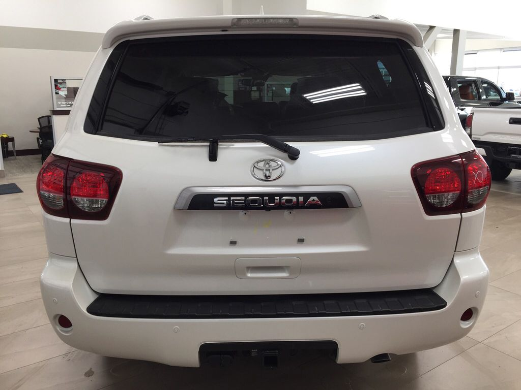 White[Blizzard Pearl] 2021 Toyota Sequoia Platinum Rear of Vehicle Photo in Sherwood Park AB