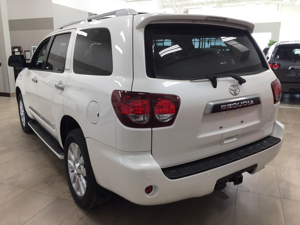 White[Blizzard Pearl] 2021 Toyota Sequoia Platinum Left Rear Corner Photo in Sherwood Park AB