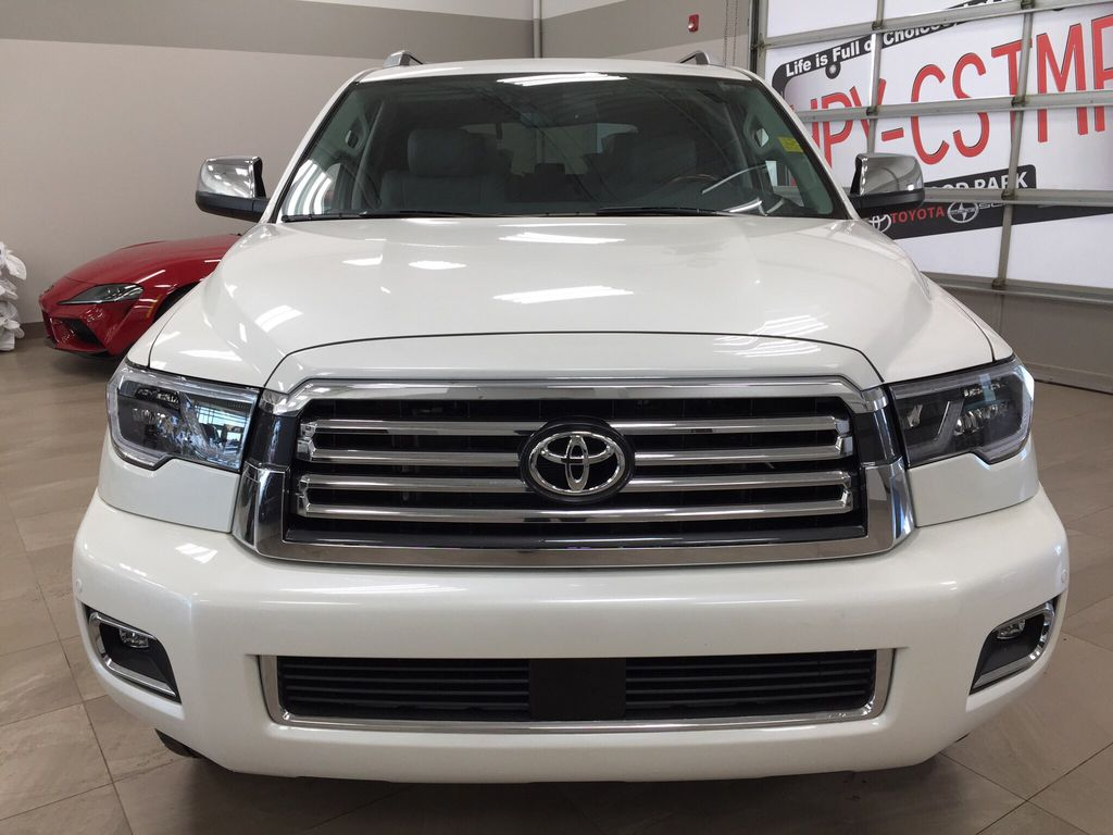 White[Blizzard Pearl] 2021 Toyota Sequoia Platinum Front Vehicle Photo in Sherwood Park AB
