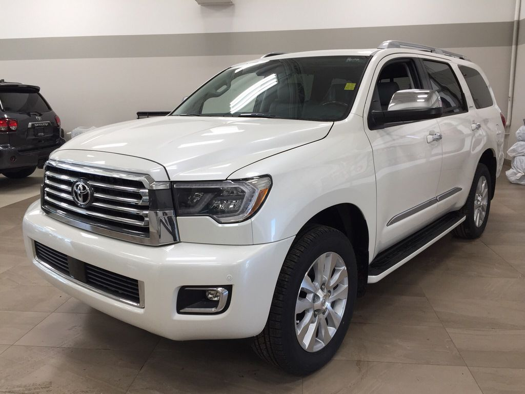 White[Blizzard Pearl] 2021 Toyota Sequoia Platinum Left Front Corner Photo in Sherwood Park AB