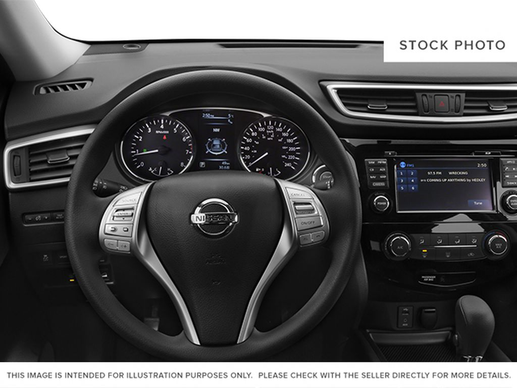 White[Moonlight White Pearl] 2014 Nissan Rogue Steering Wheel and Dash Photo in Fort Macleod AB