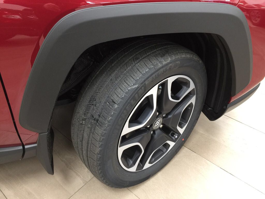 Red[Ruby Flare Pearl] 2021 Toyota RAV4 Trail Right Front Rim and Tire Photo in Sherwood Park AB