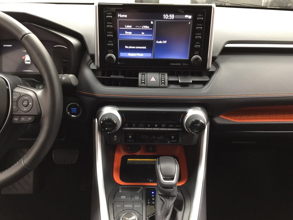 Red[Ruby Flare Pearl] 2021 Toyota RAV4 Trail Central Dash Options Photo in Sherwood Park AB