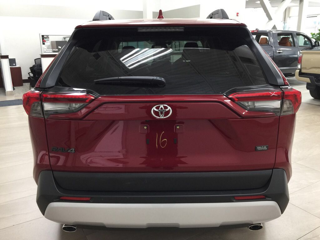 Red[Ruby Flare Pearl] 2021 Toyota RAV4 Trail Rear of Vehicle Photo in Sherwood Park AB