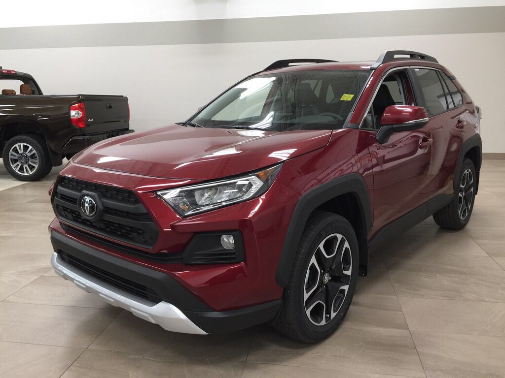 Red[Ruby Flare Pearl] 2021 Toyota RAV4 Trail Left Front Corner Photo in Sherwood Park AB