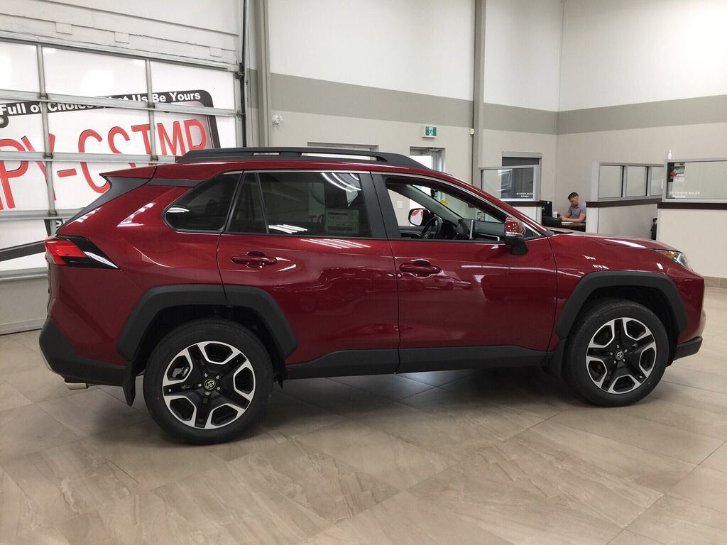 Red[Ruby Flare Pearl] 2021 Toyota RAV4 Trail Right Side Photo in Sherwood Park AB