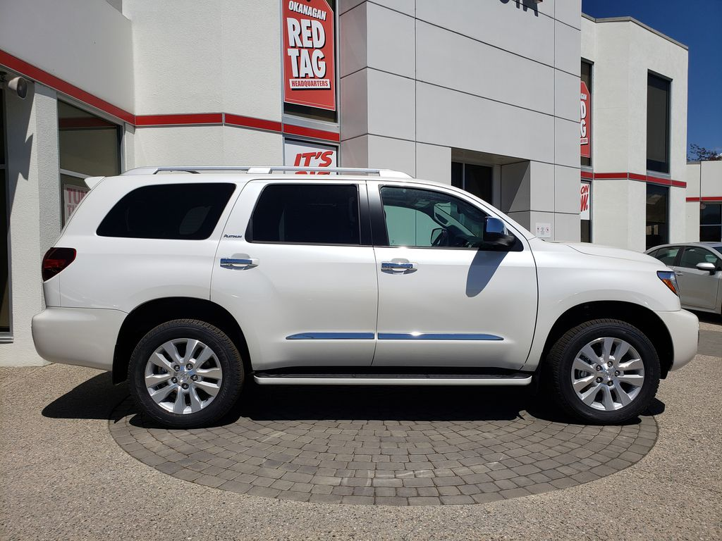 White[Blizzard Pearl] 2021 Toyota Sequoia Right Side Photo in Kelowna BC