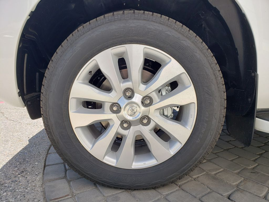 White[Blizzard Pearl] 2021 Toyota Sequoia Left Front Rim and Tire Photo in Kelowna BC