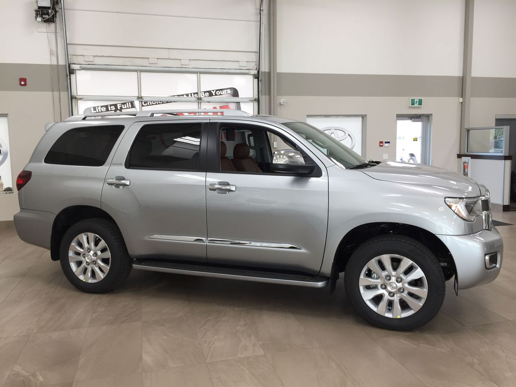 Silver[Celestial Silver Metallic] 2021 Toyota Sequoia Platinum Right Side Photo in Sherwood Park AB