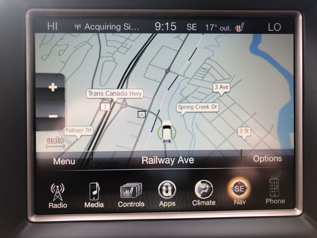 Gray[Granite Crystal Metallic] 2016 Jeep Grand Cherokee Limited Navigation Screen Closeup Photo in Canmore AB