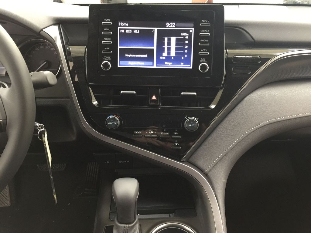 Silver[Celestial Silver Metallic] 2021 Toyota Camry SE FWD Central Dash Options Photo in Sherwood Park AB
