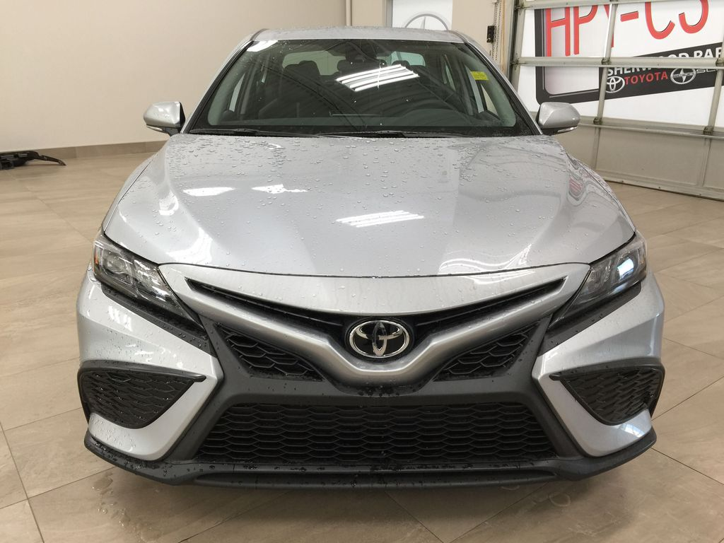 Silver[Celestial Silver Metallic] 2021 Toyota Camry SE FWD Front Vehicle Photo in Sherwood Park AB