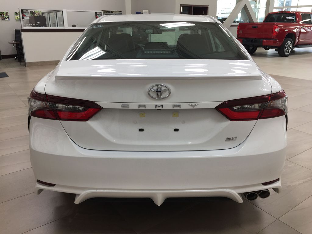 White[Super White] 2021 Toyota Camry SE FWD Rear of Vehicle Photo in Sherwood Park AB